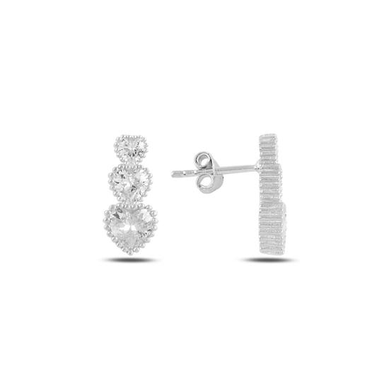 Ürün resmi: Rodyum Kaplama Süzme Kalp Zirkon Taşlı Gümüş Küpe