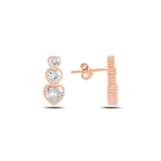 Ürün resmi: Rose Kaplama Süzme Kalp Zirkon Taşlı Gümüş Küpe