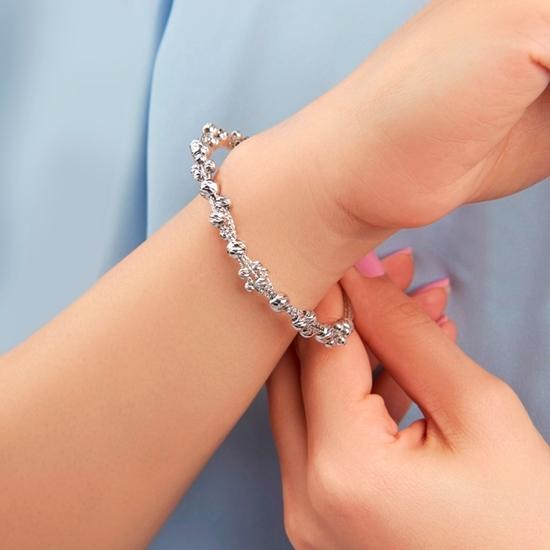 Ürün resmi: Rodyum Kaplama Dorica Toplu Plaka Gümüş Bilezik