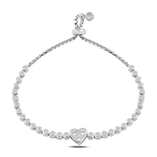 Ürün resmi: Rodyum Kaplama Kalp Zirkon Taşlı Gümüş Bayan Asansörlü Bileklik