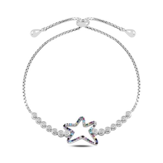 Ürün resmi: Rodyum Kaplama Yıldız Zirkon Taşlı Gümüş Bayan Asansörlü Bileklik