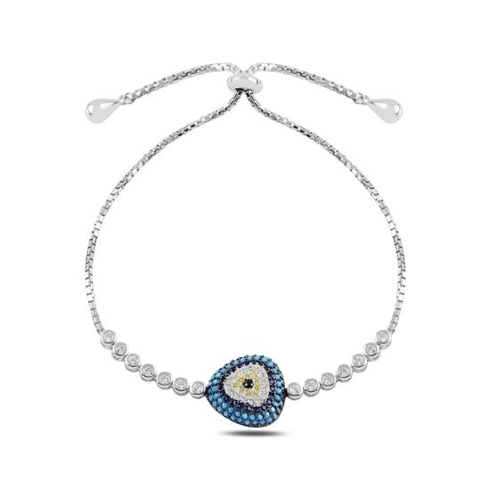 Ürün resmi: Rodyum Kaplama Gözlü Zirkon Taşlı Gümüş Bayan Asansörlü Bileklik