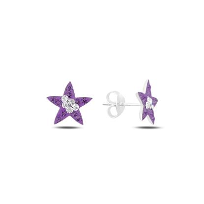 Resim Yıldız Kristal Taşlı Gümüş Küpe