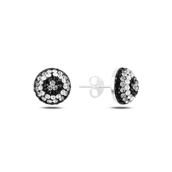 Ürün resmi: Yarım Top Kristal Taşlı Gümüş Küpe
