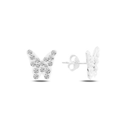 Resim Kelebek Kristal Taşlı Gümüş Küpe
