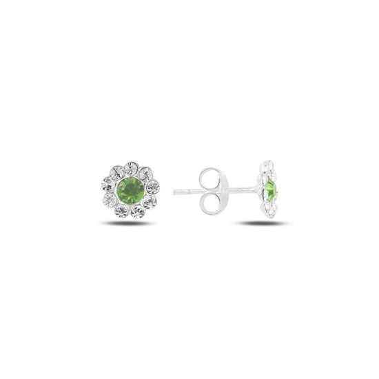 Ürün resmi: Çiçek Kristal Taşlı Gümüş Küpe