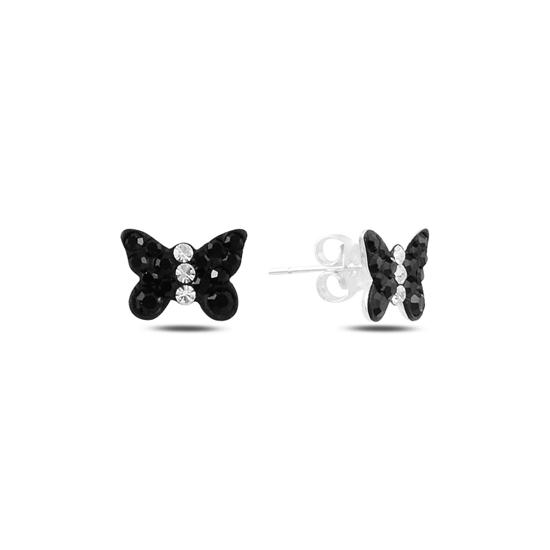 Ürün resmi: Kelebek Kristal Taşlı Gümüş Küpe