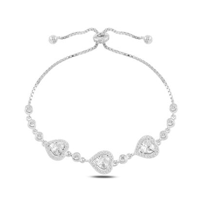 Resim Rodyum Kaplama Kalp Zirkon Taşlı Gümüş Bayan Asansörlü Bileklik