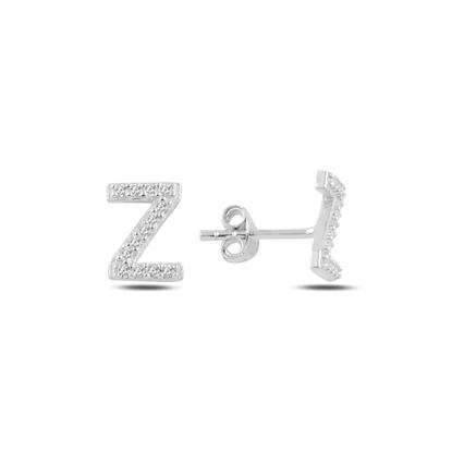 Resim Rodyum Kaplama -Z- Harfi Gümüş Küpe