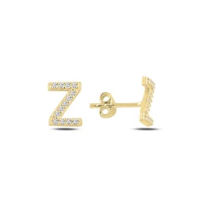 Resim Altın Kaplama -Z- Harfi Gümüş Küpe