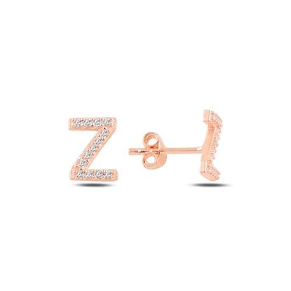 Resim Rose Kaplama -Z- Harfi Gümüş Küpe