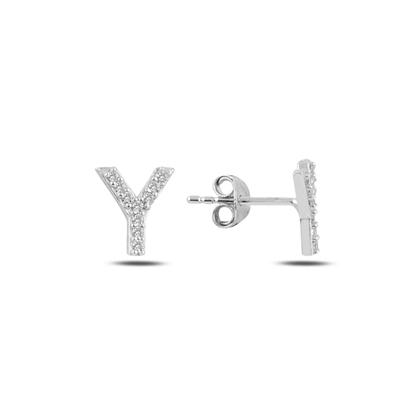 Resim Rodyum Kaplama -Y- Harfi Gümüş Küpe