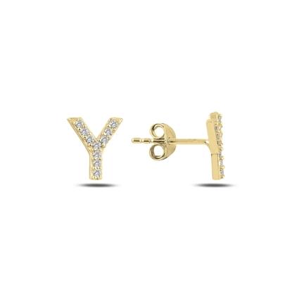 Resim Altın Kaplama -Y- Harfi Gümüş Küpe