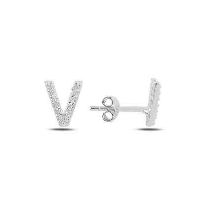 Resim Rodyum Kaplama -V- Harfi Gümüş Küpe