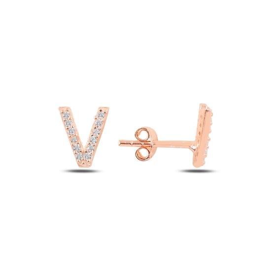 Ürün resmi: Rose Kaplama -V- Harfi Gümüş Küpe