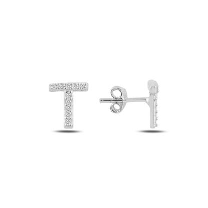 Resim Rodyum Kaplama -T- Harfi Gümüş Küpe