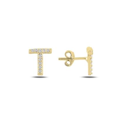 Resim Altın Kaplama -T- Harfi Gümüş Küpe