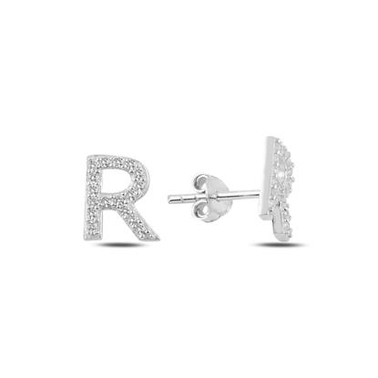 Resim Rodyum Kaplama -R- Harfi Gümüş Küpe