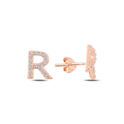Resim Rose Kaplama -R- Harfi Gümüş Küpe
