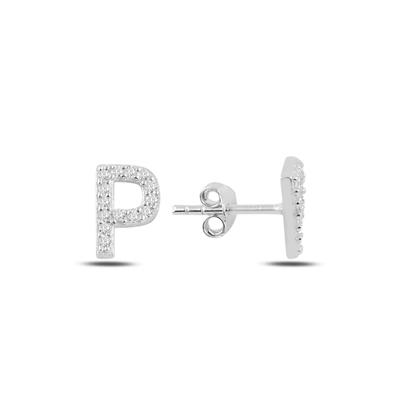 Resim Rodyum Kaplama -P- Harfi Gümüş Küpe