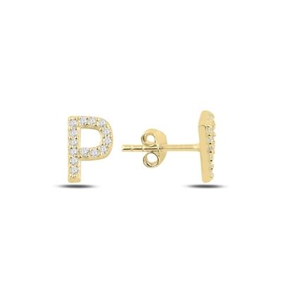 Resim Altın Kaplama -P- Harfi Gümüş Küpe