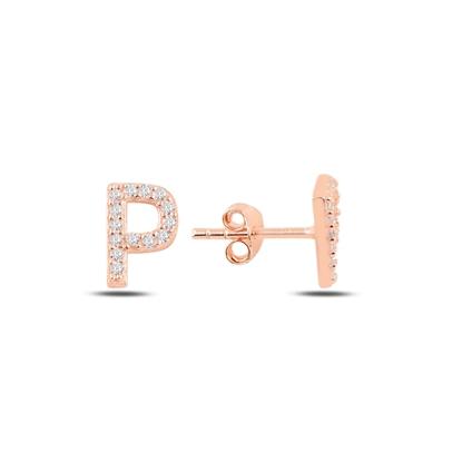 Resim Rose Kaplama -P- Harfi Gümüş Küpe