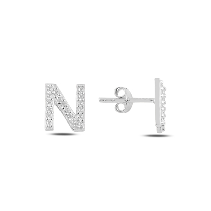 Resim Rodyum Kaplama -N- Harfi Gümüş Küpe