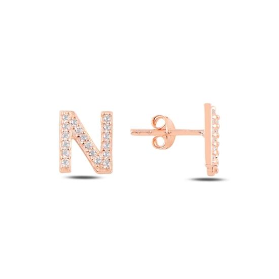 Ürün resmi: Rose Kaplama -N- Harfi Gümüş Küpe