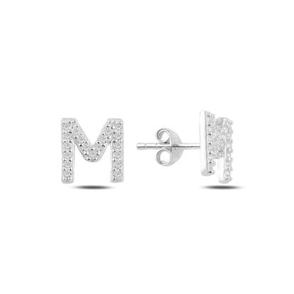 Resim Rodyum Kaplama -M- Harfi Gümüş Küpe