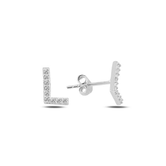 Ürün resmi: Rodyum Kaplama -L- Harfi Gümüş Küpe