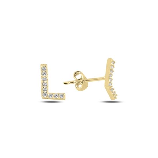 Ürün resmi: Altın Kaplama -L- Harfi Gümüş Küpe