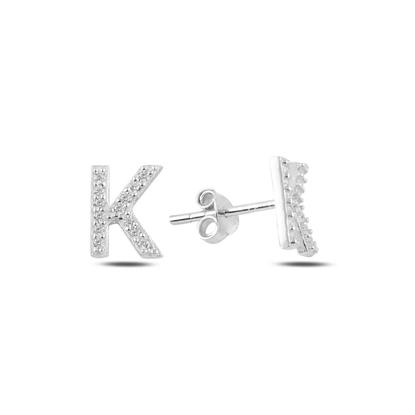 Resim Rodyum Kaplama -K- Harfi Gümüş Küpe