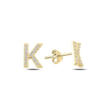 Resim Altın Kaplama -K- Harfi Gümüş Küpe