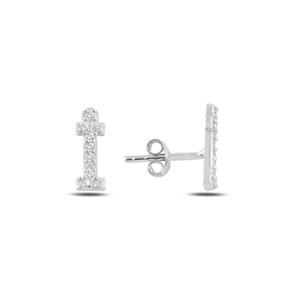 Resim Rodyum Kaplama -İ- Harfi Gümüş Küpe