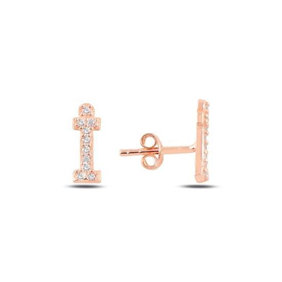 Ürün resmi: Rose Kaplama -İ- Harfi Gümüş Küpe