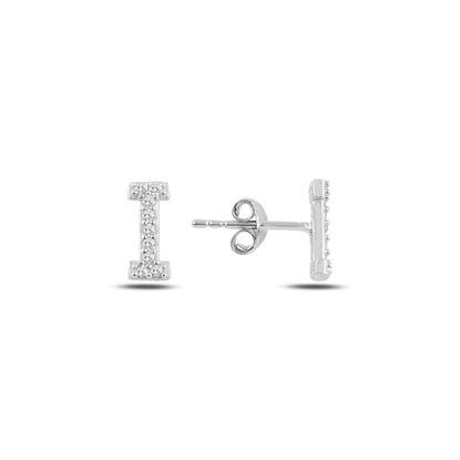 Resim Rodyum Kaplama -I- Harfi Gümüş Küpe