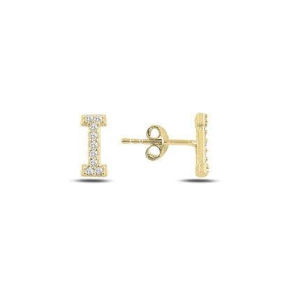 Resim Altın Kaplama -I- Harfi Gümüş Küpe