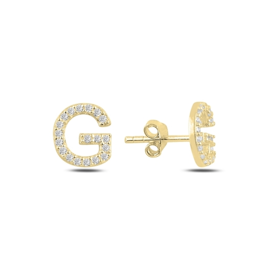 Ürün resmi: Altın Kaplama -G- Harfi Gümüş Küpe