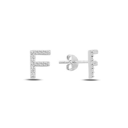 Resim Rodyum Kaplama -F- Harfi Gümüş Küpe