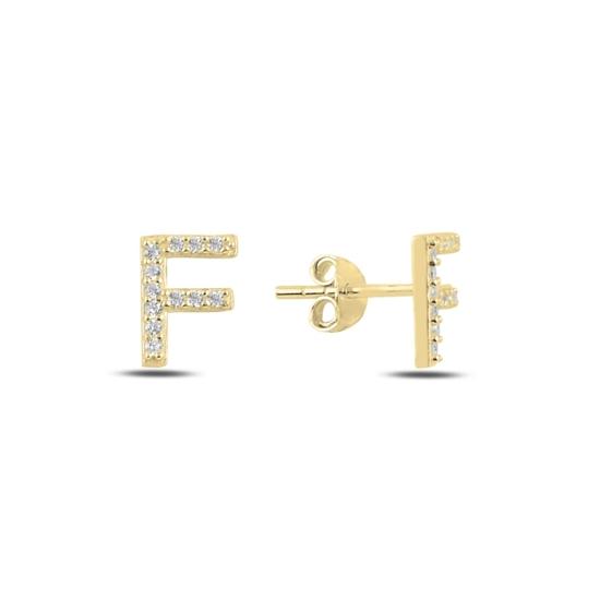 Ürün resmi: Altın Kaplama -F- Harfi Gümüş Küpe