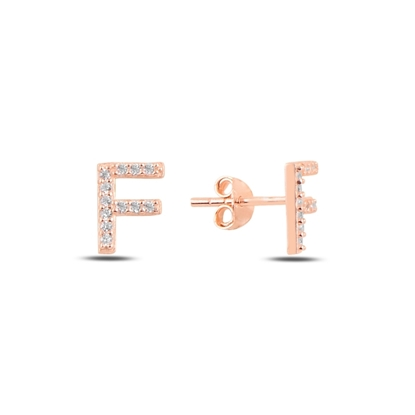 Resim Rose Kaplama -F- Harfi Gümüş Küpe