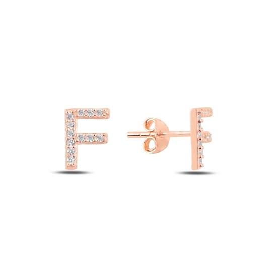 Ürün resmi: Rose Kaplama -F- Harfi Gümüş Küpe