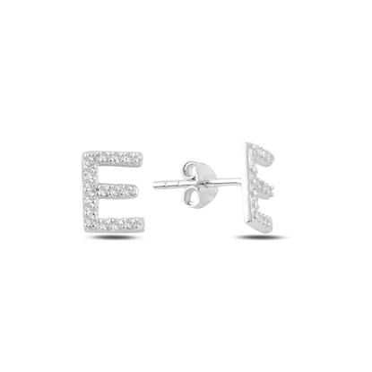 Resim Rodyum Kaplama -E- Harfi Gümüş Küpe