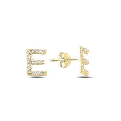 Resim Altın Kaplama -E- Harfi Gümüş Küpe