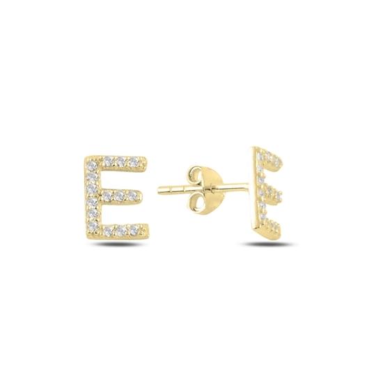 Ürün resmi: Altın Kaplama -E- Harfi Gümüş Küpe