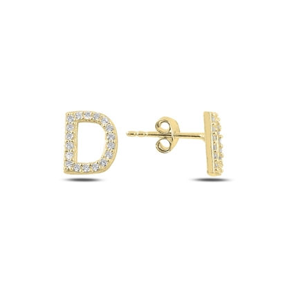 Resim Altın Kaplama -D- Harfi Gümüş Küpe