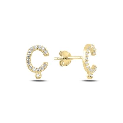 Resim Altın Kaplama -Ç- Harfi Gümüş Küpe