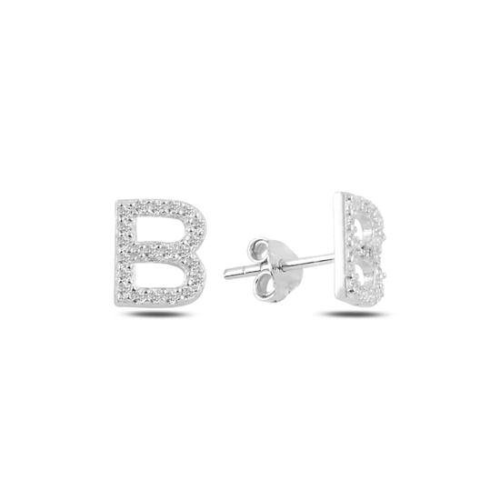 Ürün resmi: Rodyum Kaplama -B- Harfi Gümüş Küpe