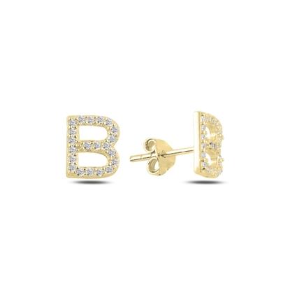 Resim Altın Kaplama -B- Harfi Gümüş Küpe
