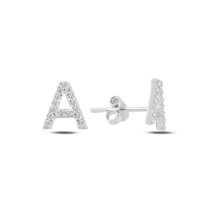Resim Rodyum Kaplama -A- Harfi Gümüş Küpe